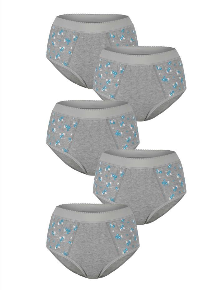Blue Moon Culottes taille haute à finition ventre plat Lot de 5, 3x gris/turquoise/blanc, 2x gris/parme/blanc