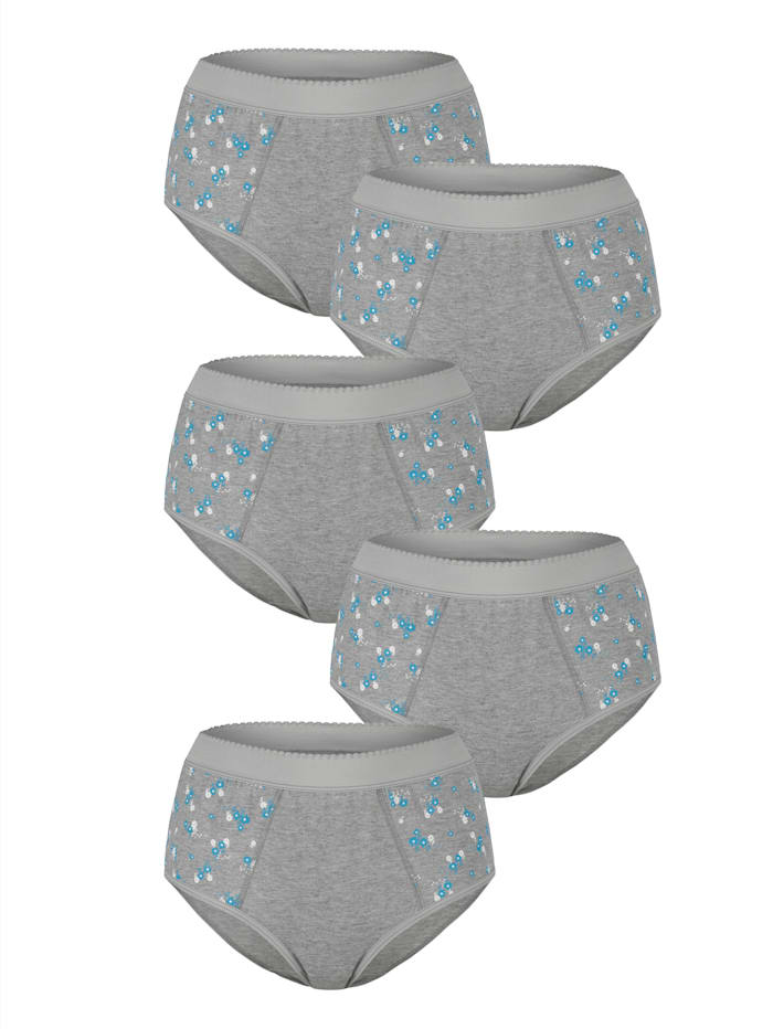 Blue Moon Taillenslips im 5er Pack mit Bauchweg-Funktion, Grau