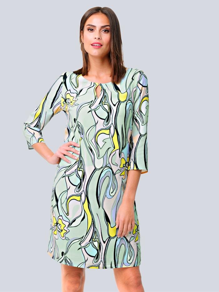 Alba Moda Kleid mit farbharmonischem Druck, Mintgrün/Rosé/Gelb
