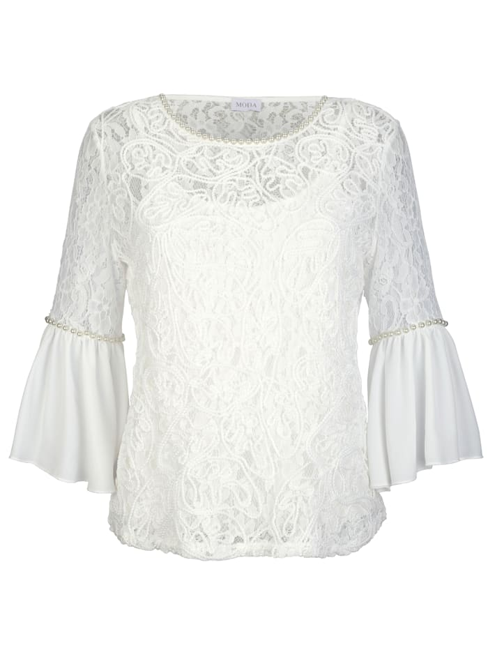 Lace top with faux pearls