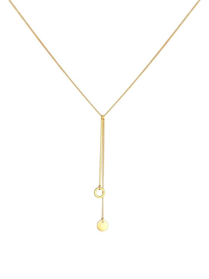 Halskette Y-Kette Kreis Plättchen Geo Trend Boho 925 Silber