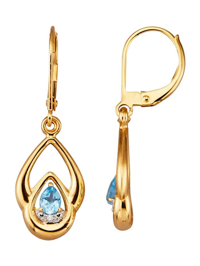 Oorbellen met blauwe topazen en diamanten, Blauw