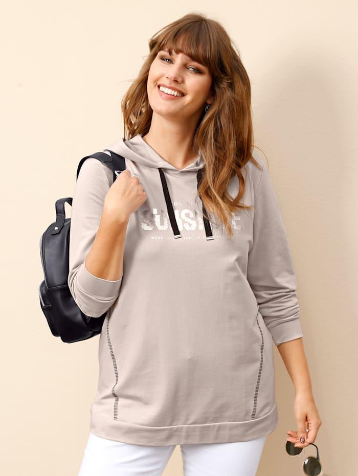 MIAMODA Sweatshirt met folieprint, Beige/Zilverkleur