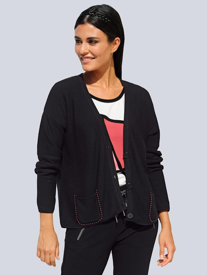 Alba Moda Strickjacke mit Stickerei auf den Taschen, Schwarz/Koralle