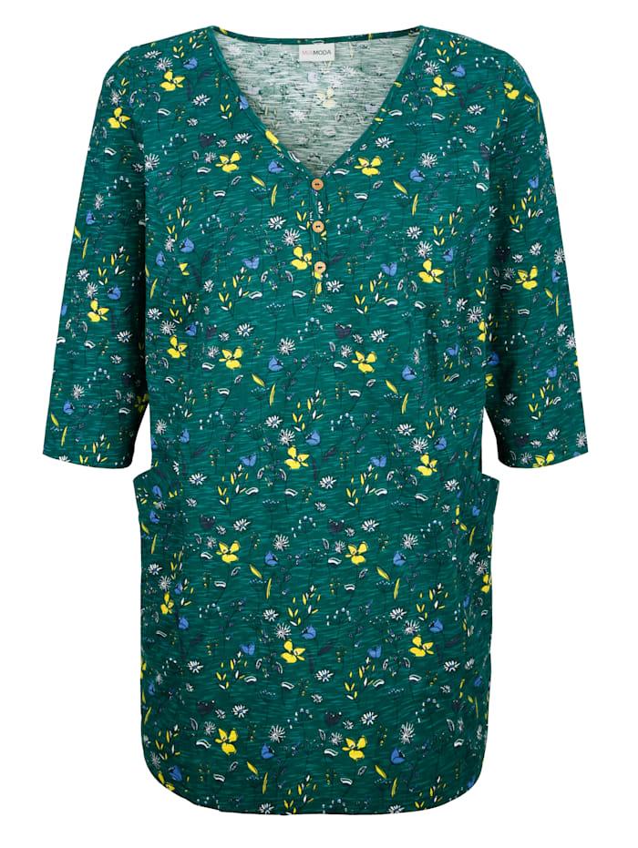 MIAMODA Dlouhé tričko s květinovým potiskem, Zelená