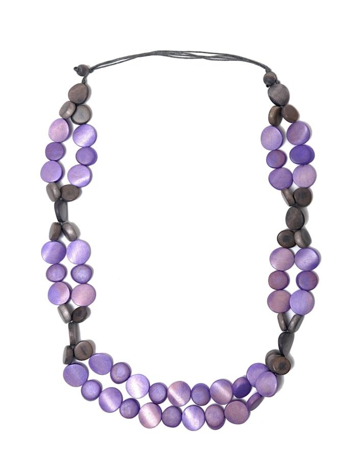 Collezione Alessandro Lange Kette Mona mit flachen Holzperlen, violett