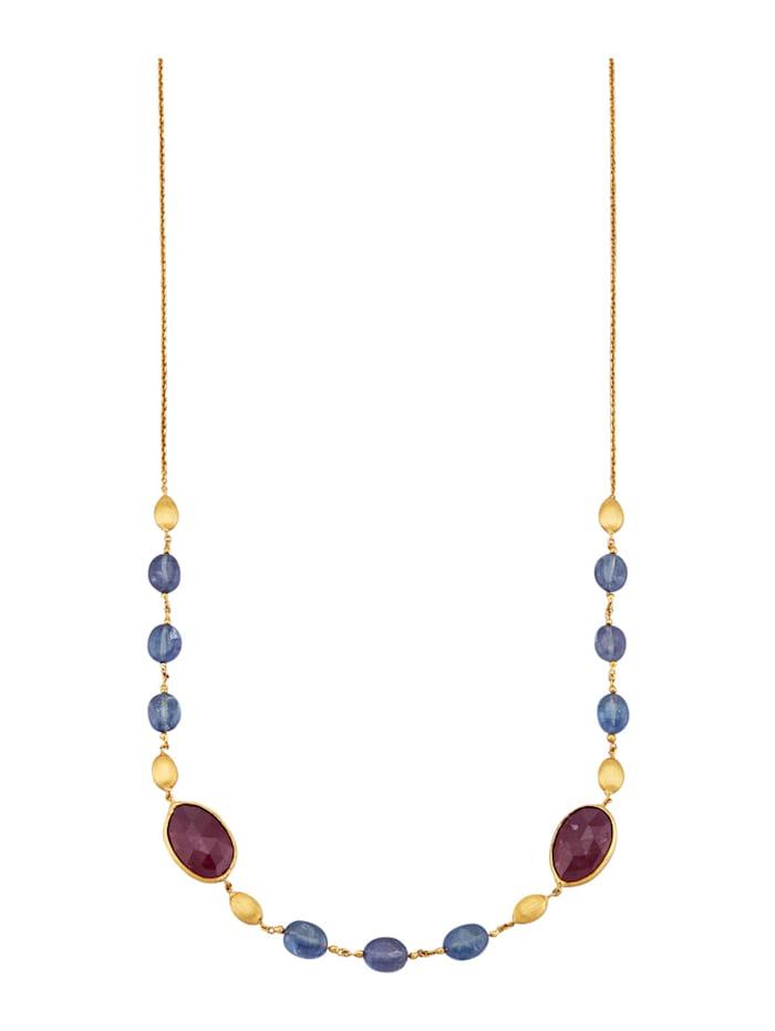Diemer Farbstein Halskette mit Rubinen und Saphiren, Multicolor