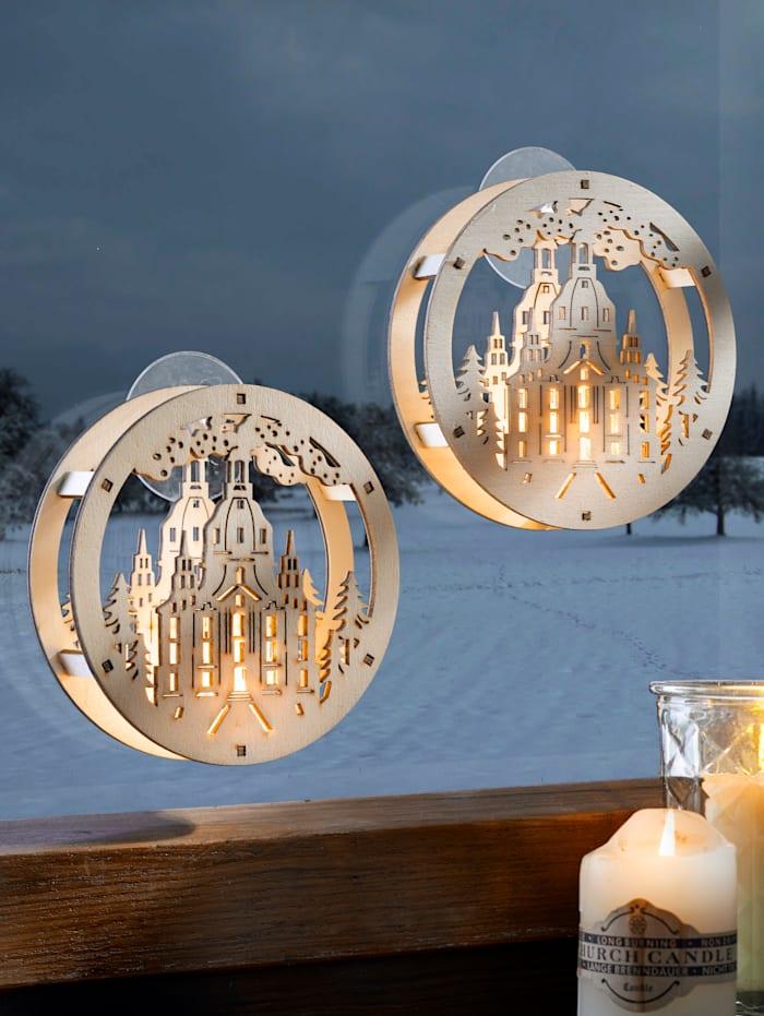 2er Set LED-Fensterdeko mit Saugnapf