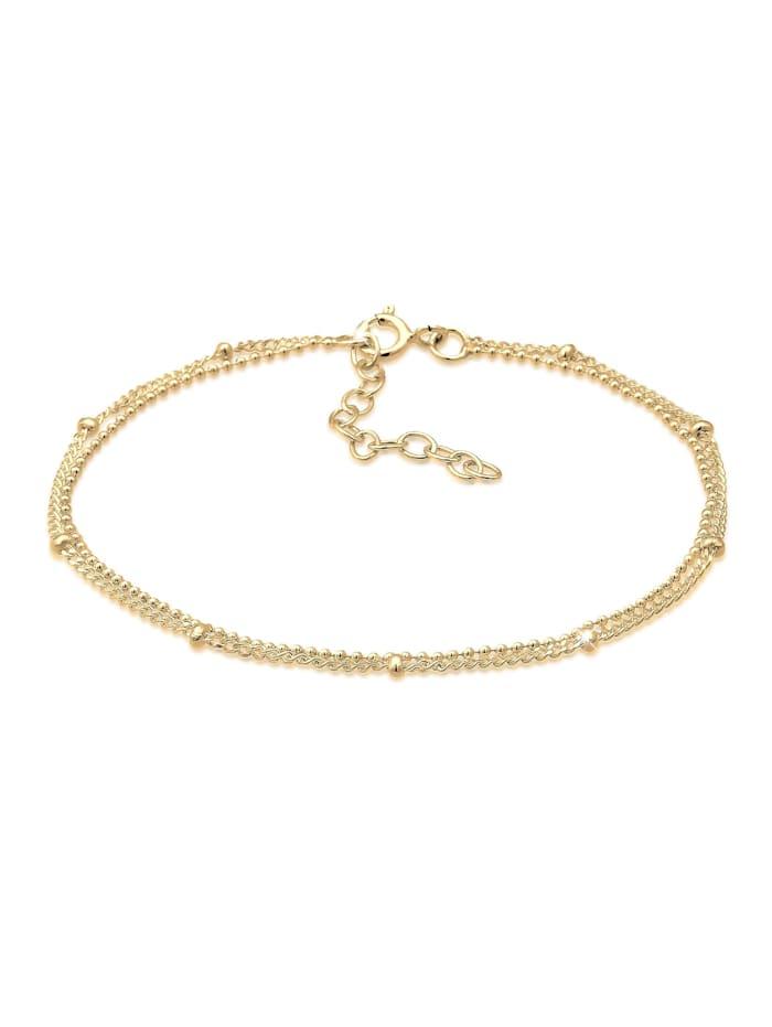 Elli Armband Basic Kettchen Trend Geo Layer Kugeln 925 Silber, Gold
