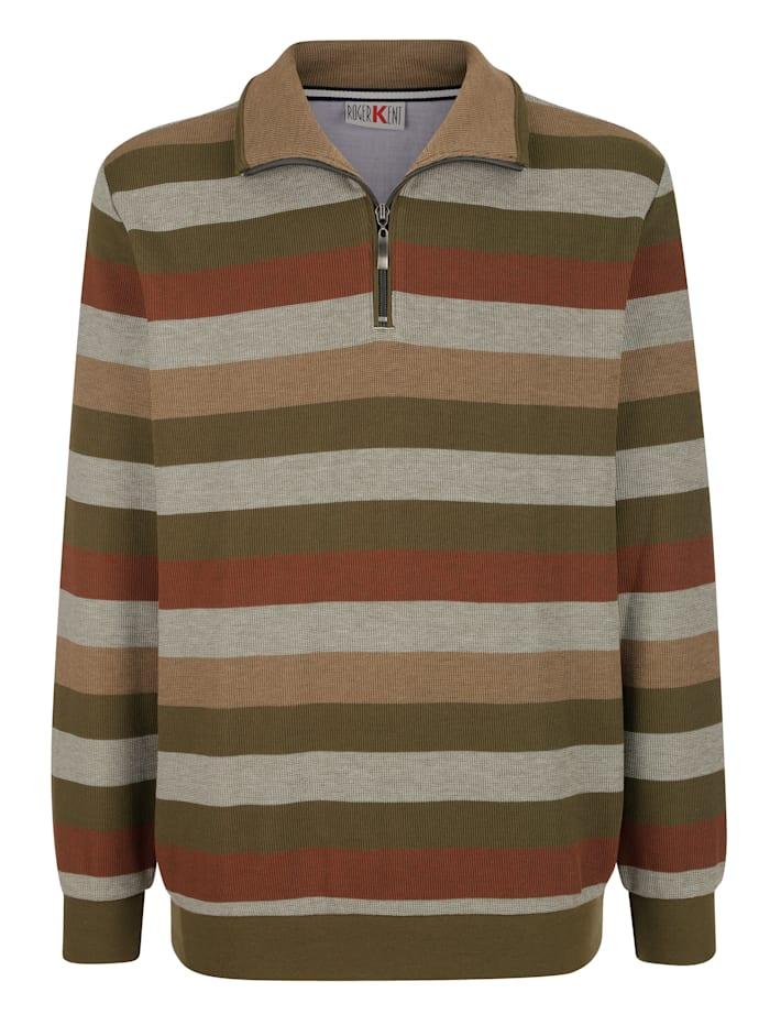 Roger Kent Sweatshirt mit Streifenmusterung, Oliv/Rost