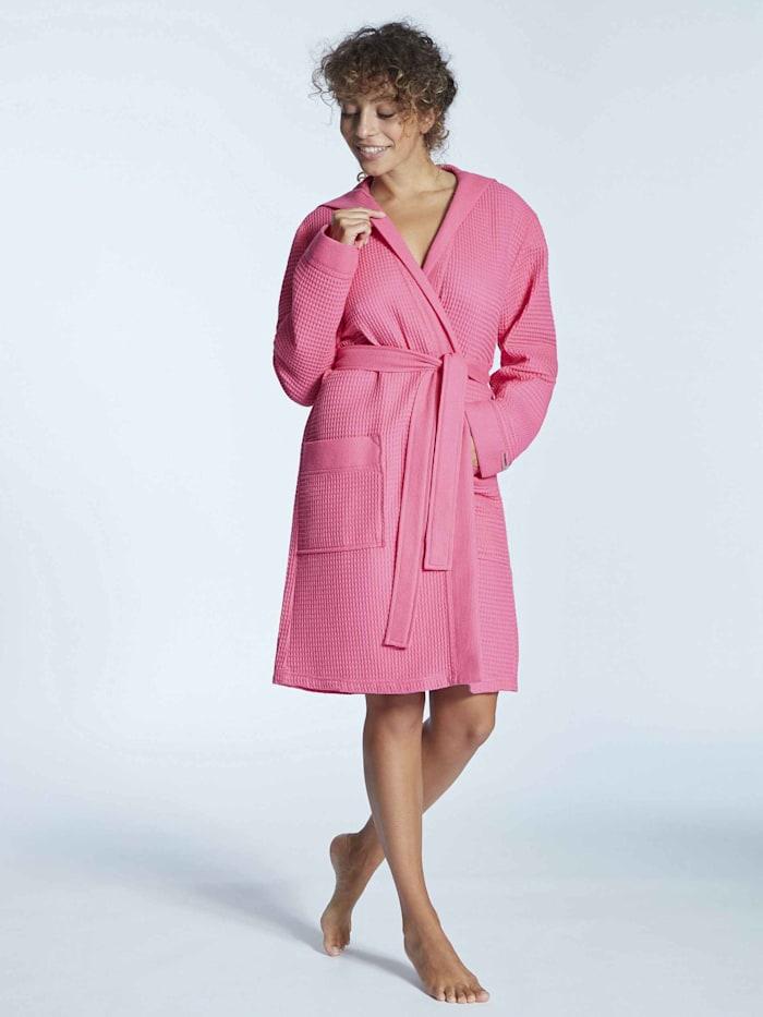 Taubert Piqué Bademantel mit Kapuze, Länge 100cm Ökotex zertifiziert, bright pink