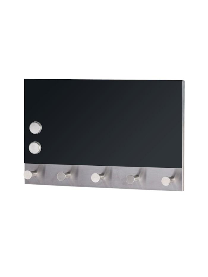 Wenko Magnetische Garderobe Black, 5 Haken, 30 x 19 cm, Motivplatte: Schwarz, Haken: Silber matt