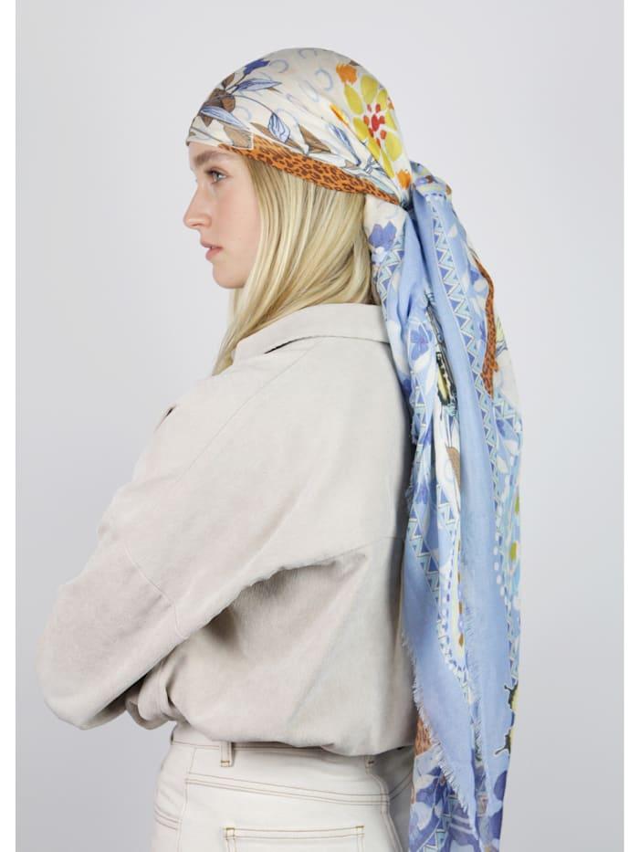 Softes Flower-Tuch mit Leo-Motiven aus Baumwolle und Modal