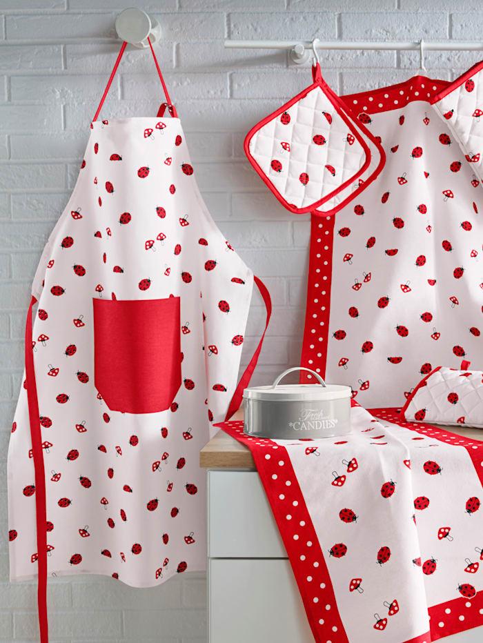 Kracht Förkläde med ficka – Nyckelpigor, röd