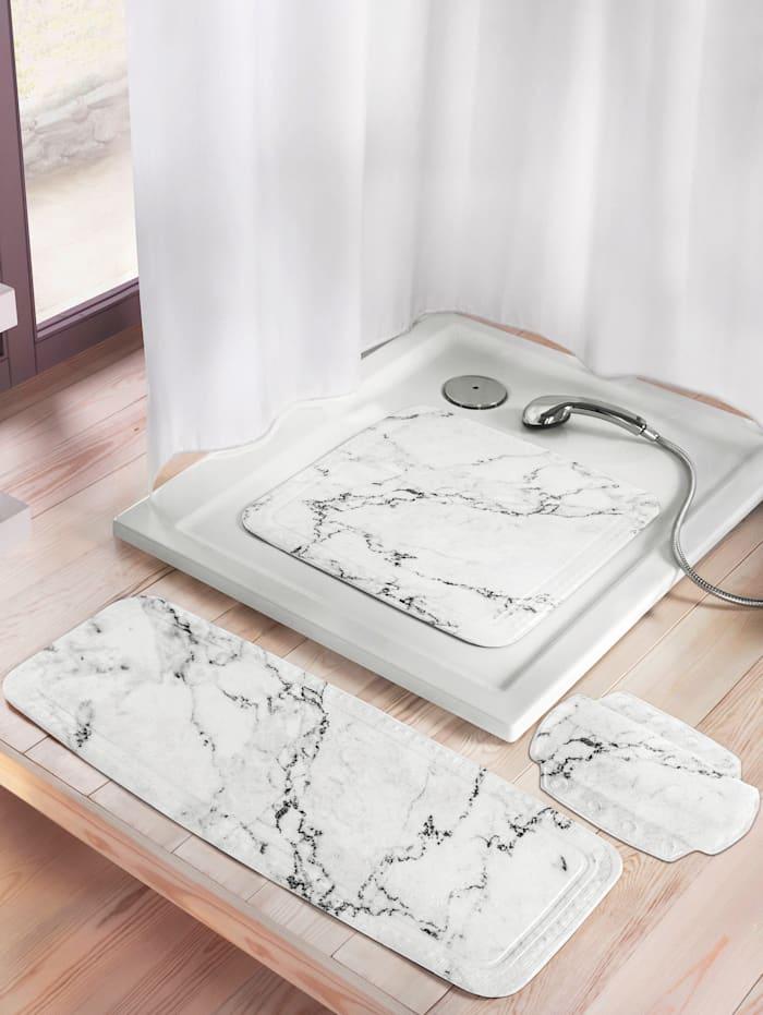"""Kleine Wolke Duscheinlage """"Marmor"""", weiß/grau marmoriert"""