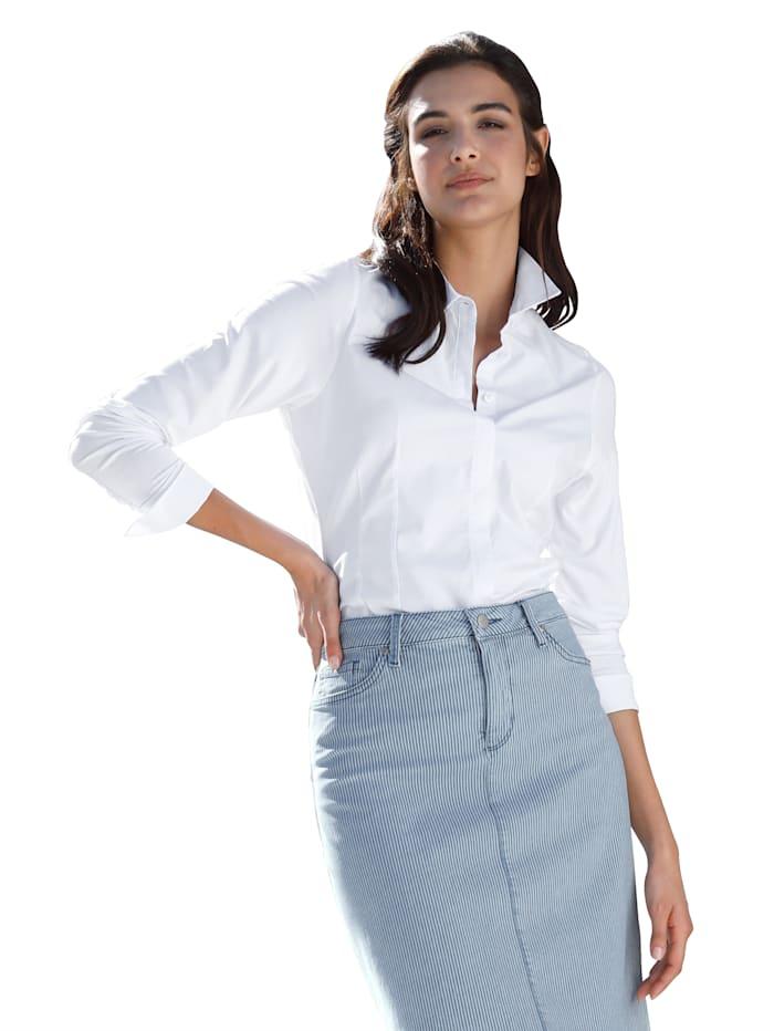 AMY VERMONT Blouse met voorkant van weefstof en achterkant & mouwen van elastische jersey, Ecru