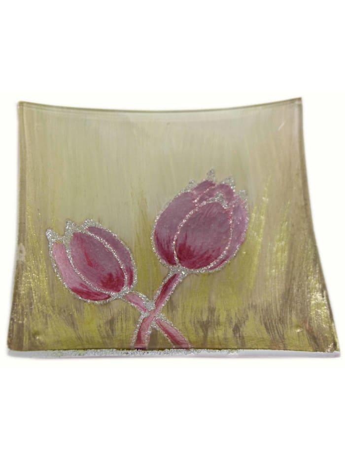 HTI-Living Dekoteller Tulpe Rosa, Gold