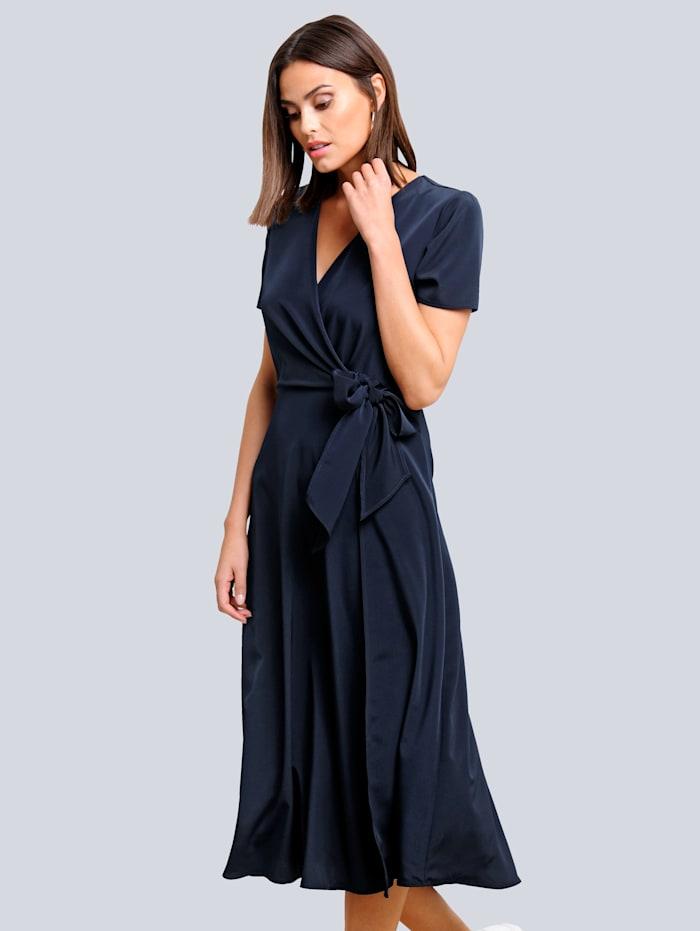 Alba Moda Kleid in effektvoller Wickel-Optik, Marineblau