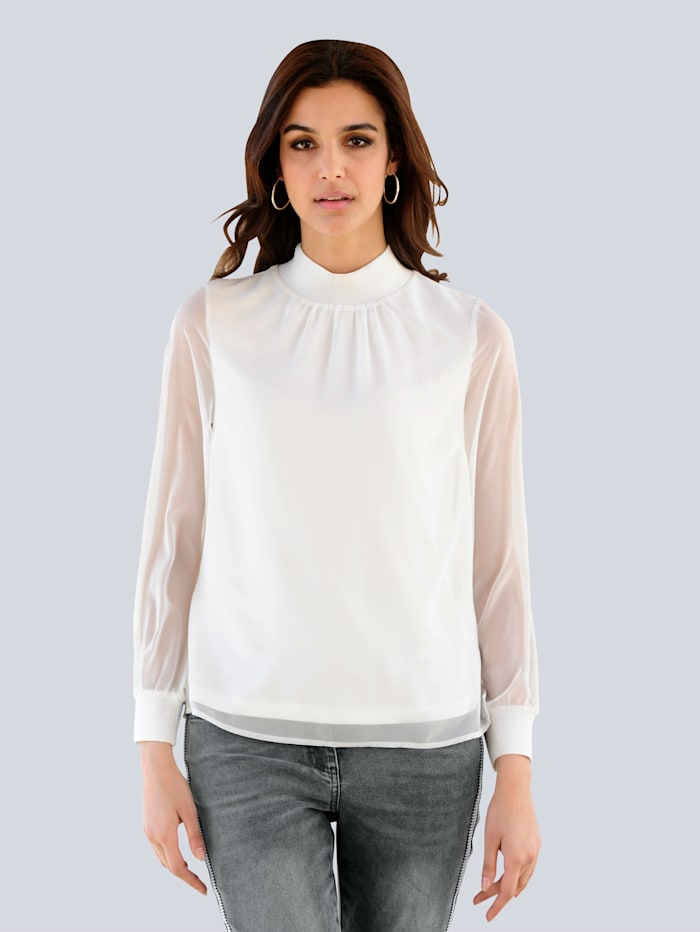 Alba Moda Bluse aus zartem Chiffon, Off-white