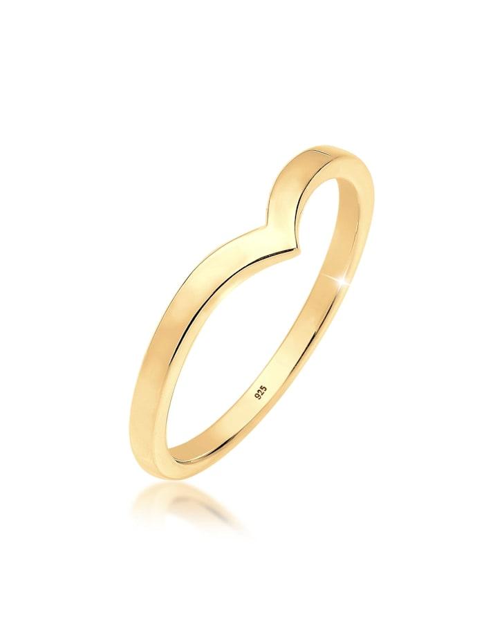 Elli Ring V-Stacking Geo Trend Blogger 925 Sterling Silber, Gold
