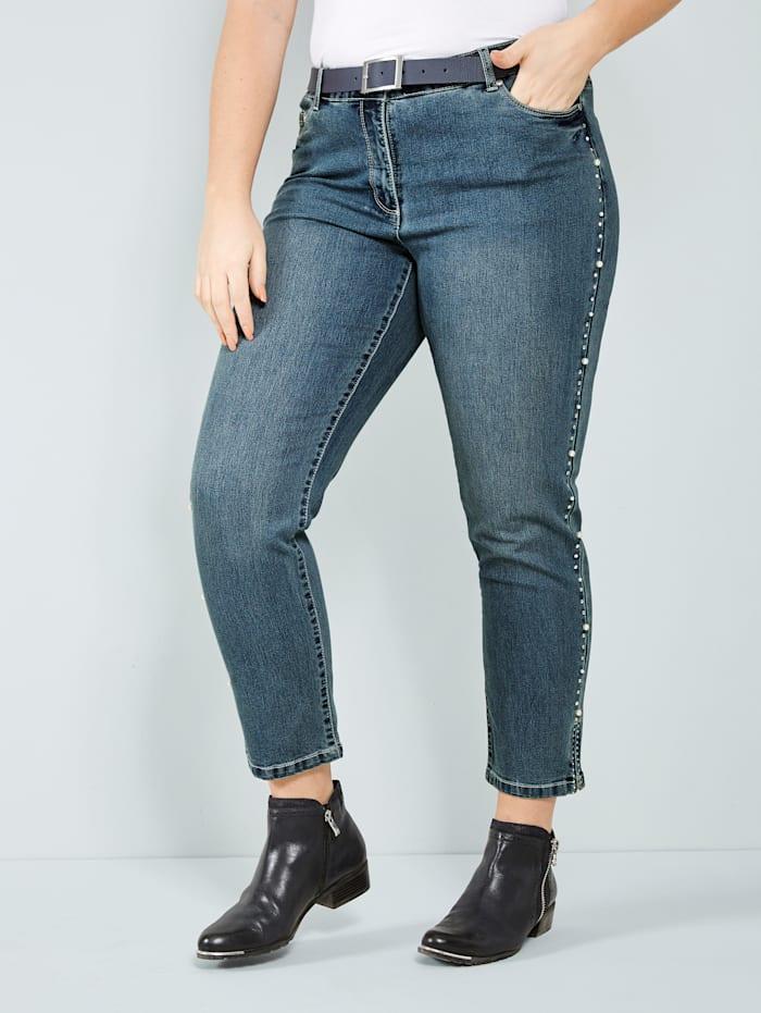 Sara Lindholm Slim Fit Jeans, Blue stone