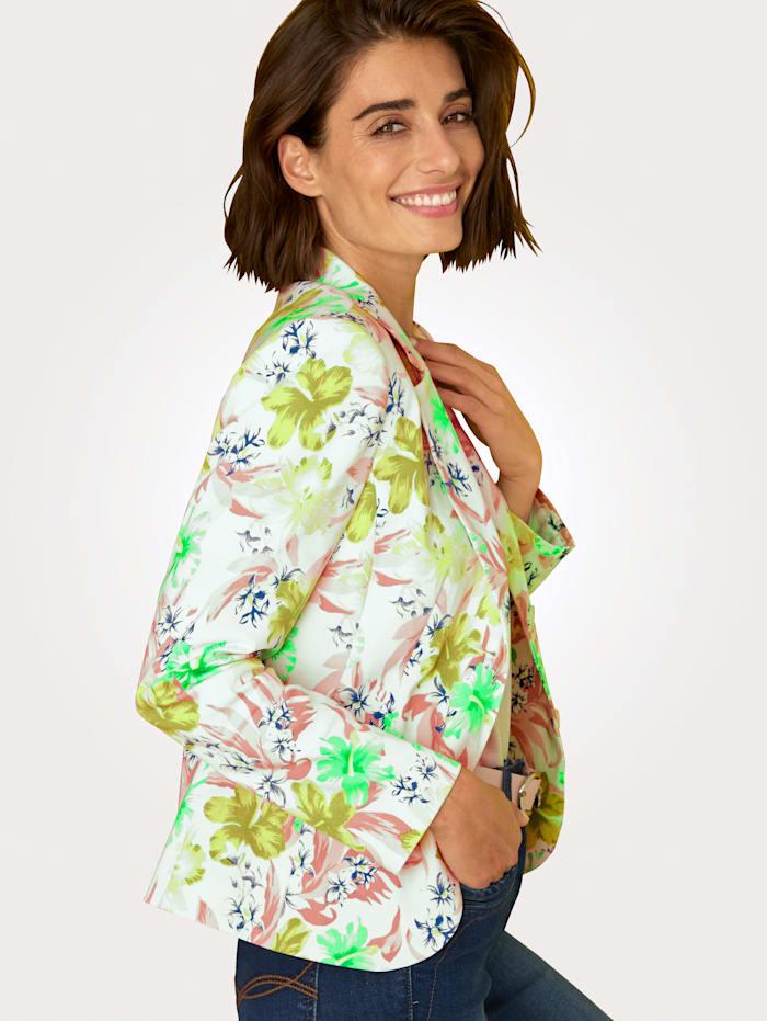 MONA Blazer en coton mélangé agréable, Blanc/Rose/Vert/Jaune