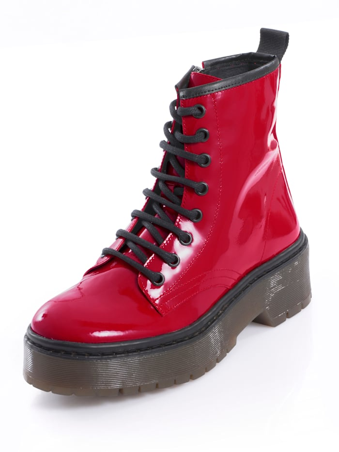Alba Moda Boot van rundlakleer, Rood/Zwart