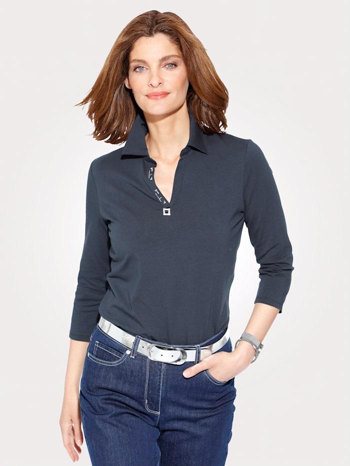 MONA Poloshirt mit Zierschnalle, Marineblau