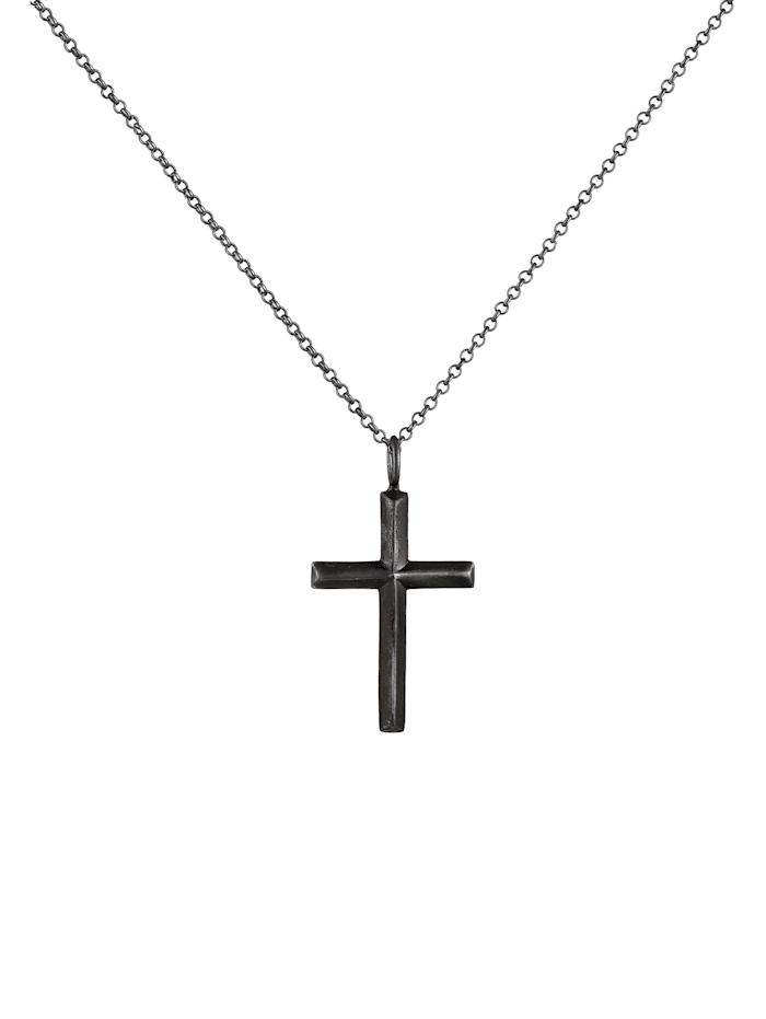 Halskette Herren Erbskette Kreuz Oxidiert Massiv 925 Silber