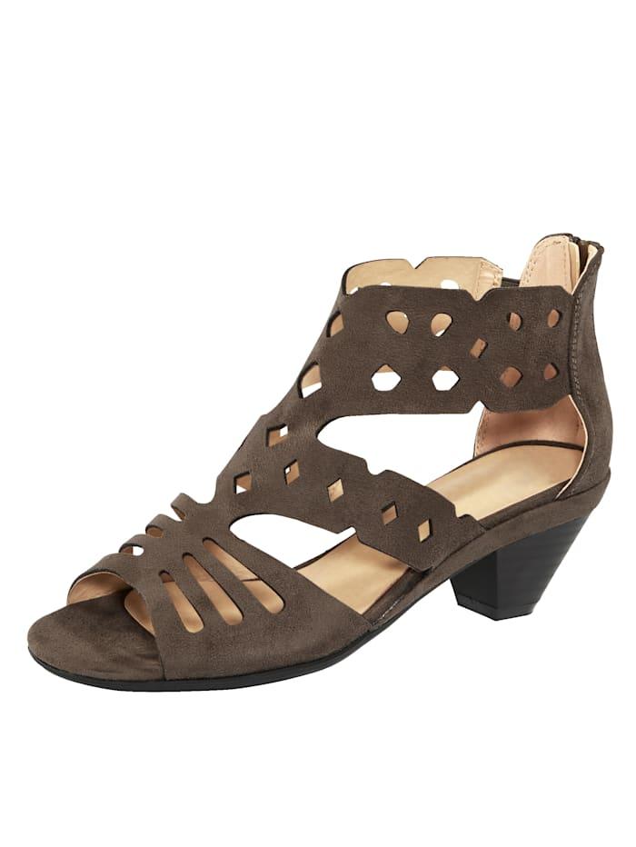 Liva Loop Reikäkuviolliset sandaletit, Harmaanruskea