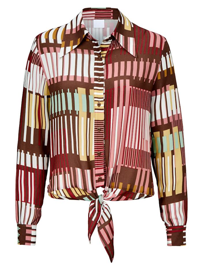 REKEN MAAR Bluse mit Bindedetail, Multicolor