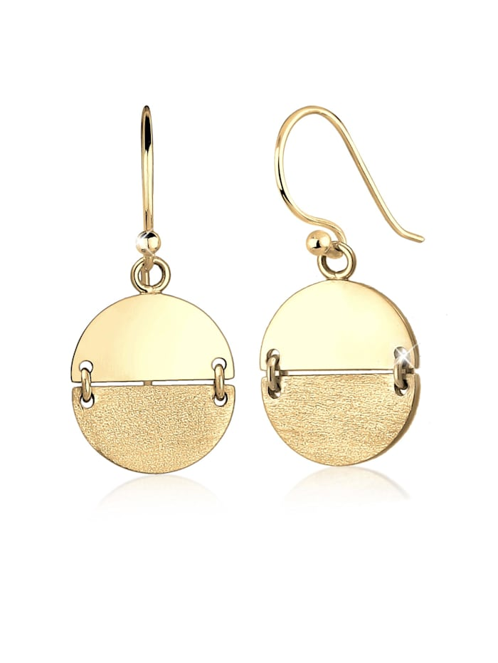 Elli Ohrringe Geo Look Kreis Ohrhänger Brushed Trend 925 Silber, Gold