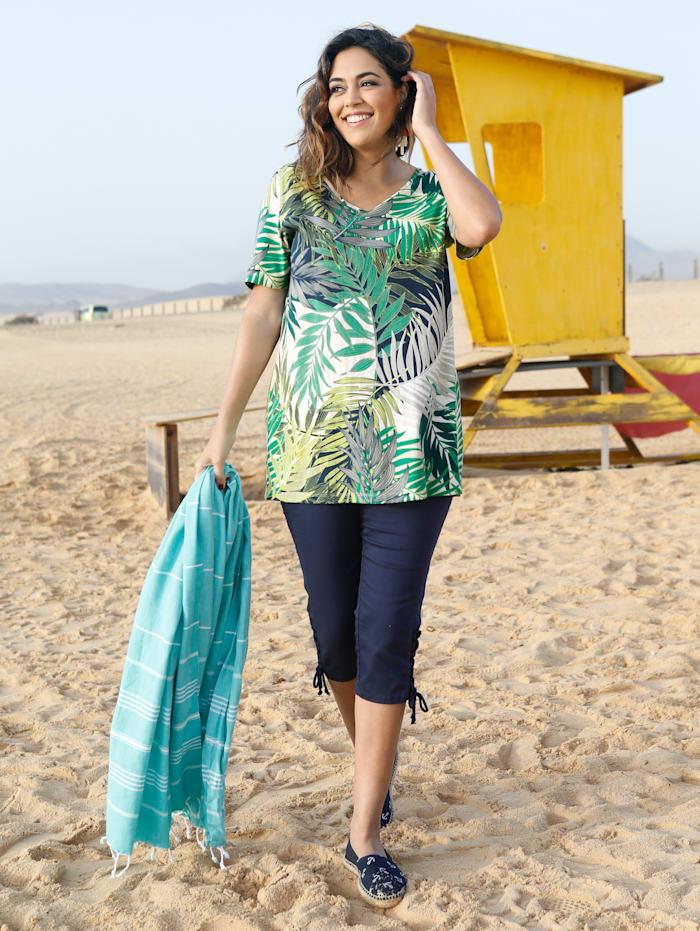 MIAMODA Shirt aus reiner Baumwolle, Grün/Gelb/Marineblau