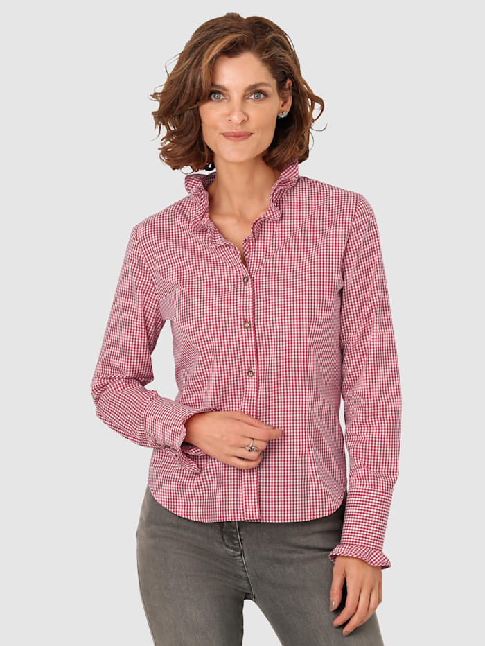 MONA Blouse met ruches, Rood/Wit