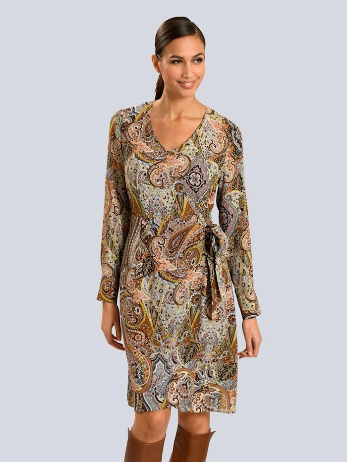 Alba Moda Kleid im Paisleydessin allover, Camel/Beige/Schwarz