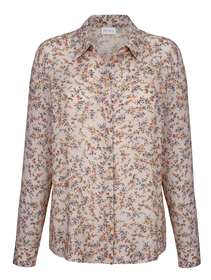 Blouse with a millefleur print