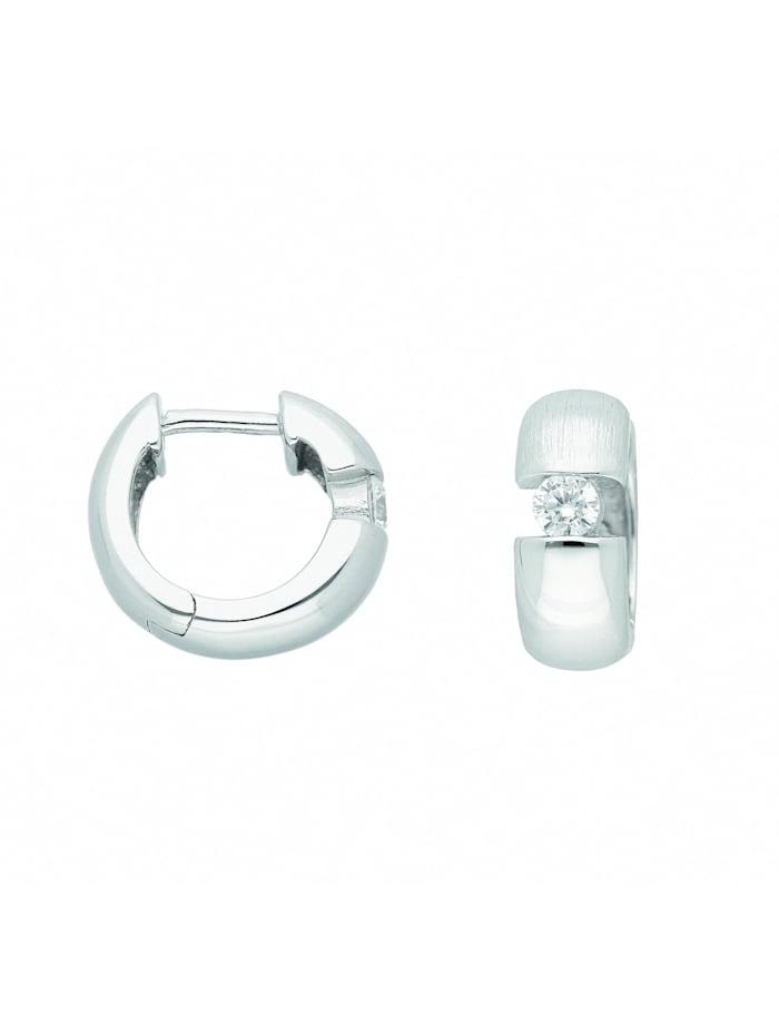 1001 Diamonds Damen Silberschmuck 925 Silber Ohrringe / Creolen mit Zirkonia Ø 12,9 mm, silber