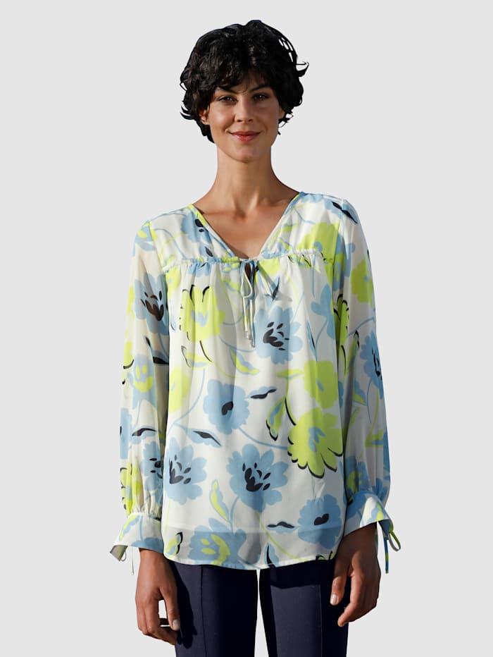 Dress In Bluse mit schönem Blumendruck, Off-white