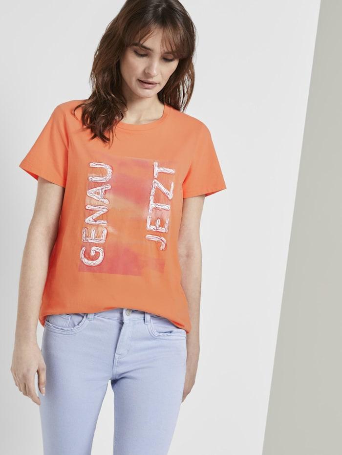 Tom Tailor T-Shirt mit Schrift-Print, fruity melon orange