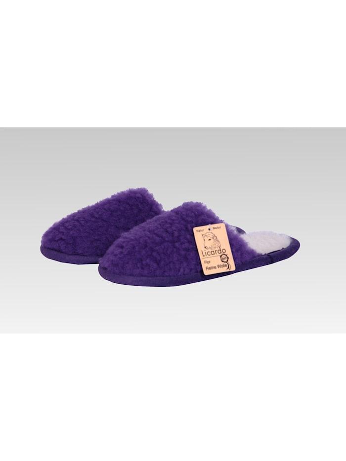 Linke Licardo Pantoffeln Hausschuhe Wolle lila, lila