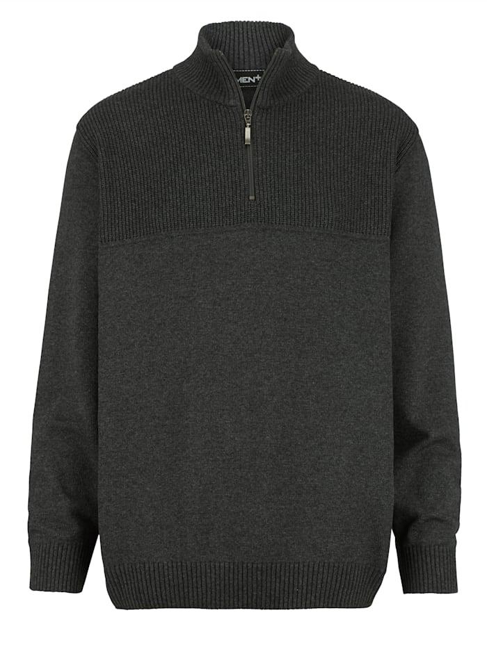 Men Plus Pullover Spezialschnitt, Anthrazit