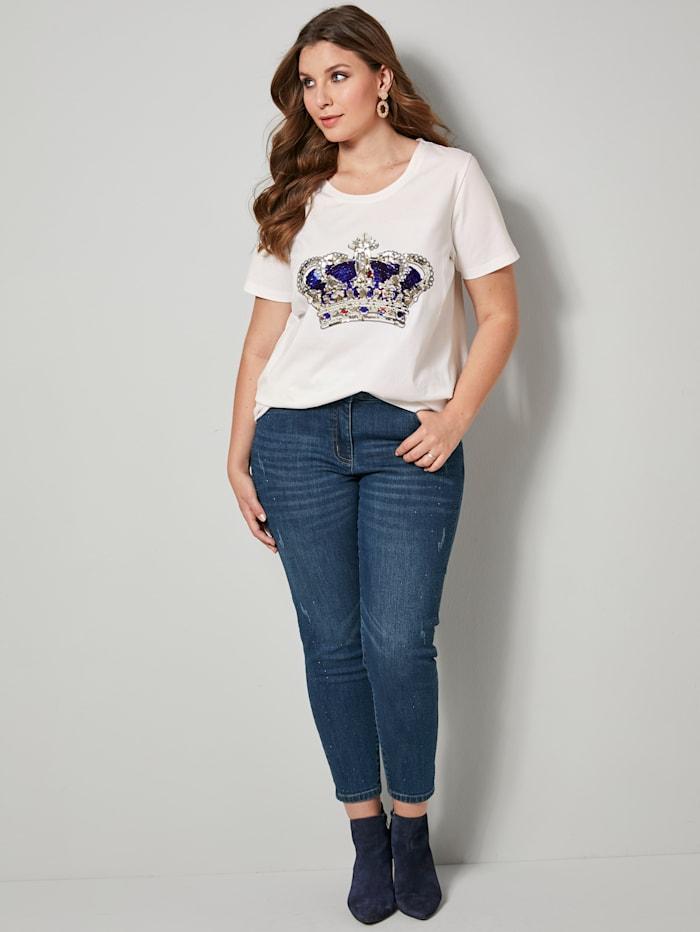 Sara Lindholm Shirt mit funkelndem Kronenmotiv, Weiß