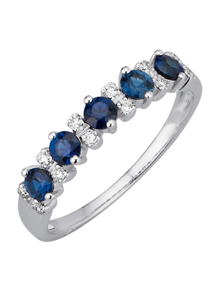 Diemer Farbstein Damenring mit Diamanten und Saphiren, Blau