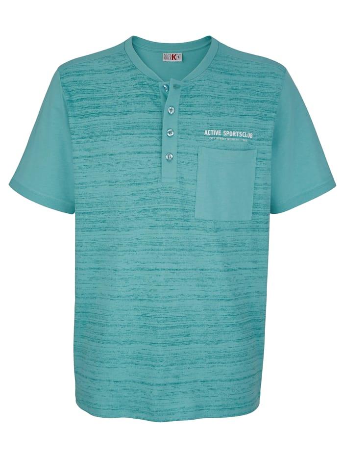 Roger Kent T-shirt met motief voor, Turquoise