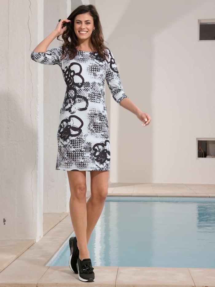 AMY VERMONT Kleid mit floralem Muster, Weiß/Schwarz