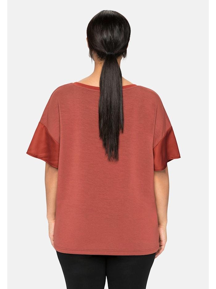 Shirt mit Webeinsatz in den Ärmeln