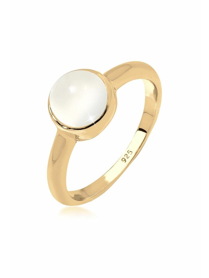 Elli Ring Trend Bandring Mondstein Edelstein 925 Silber, Gold