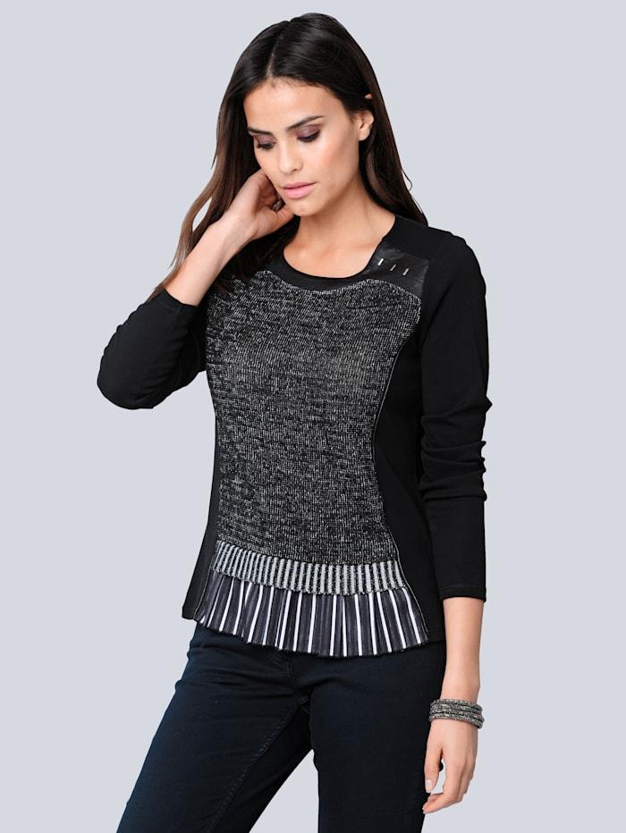 Alba Moda Shirt mit effektvollem Saumabschluss, Schwarz/Weiß