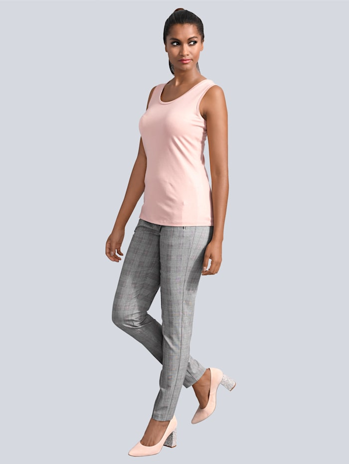 Alba Moda Hose mit seitlichen Zipper-Taschen, Grau/Dunkelgrau/Weiß/Schwarz