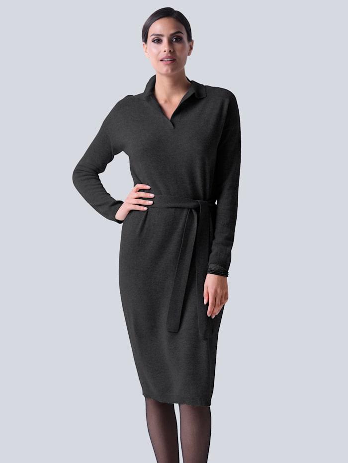 Alba Moda Strickkleid aus hochwertiger reiner Kaschmirqualität, Anthrazit